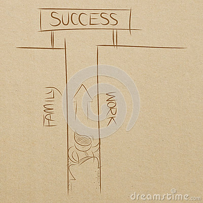 business man climbing between family and work wall