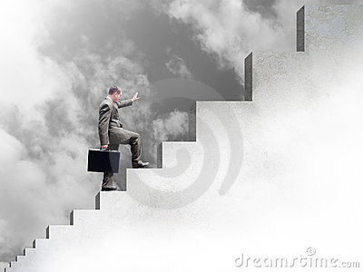 Business Man Climbing Up Stairs to Success