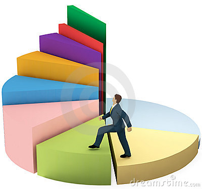 Free Business Man Climbs Up Growth Pie Chart Stairs Royalty Free Stock Photography - 14457687