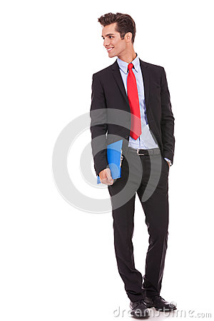 Business man with clipboard looking to his  side