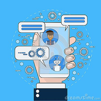 Free Business Man Communicating With Chatbot Using Smart Phone Royalty Free Stock Photos - 106246078