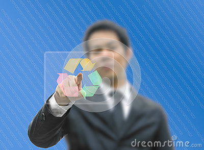 Business man concept pointing recycle logo