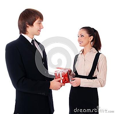 Business Man congratulates employee