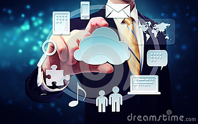 Business man with connectivity through cloud computing concept