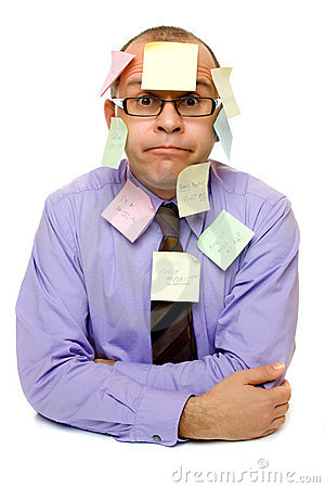 Business man covered with sticky notes
