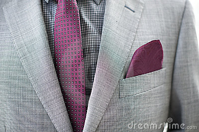Business Man details of grey jacket and tie