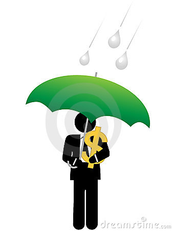 Business man dollar money safe under umbrella