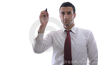 Business man draw with marker on empty space