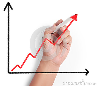 Business man drawing graph