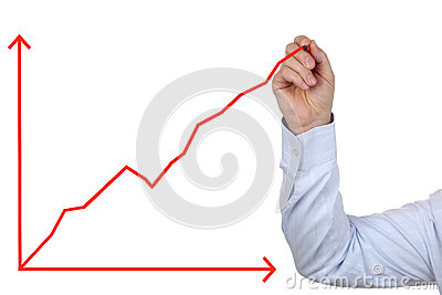 Business man drawing a success growth chart