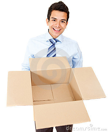 Business man with an empty box