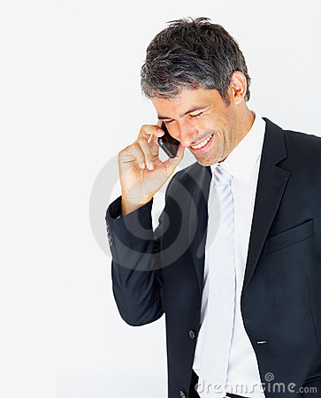 Business Man Enjoying His Conversation On A Mobile Royalty Free Stock Photos - Image: 9280838