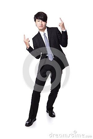 Business man enjoying success and raise arms