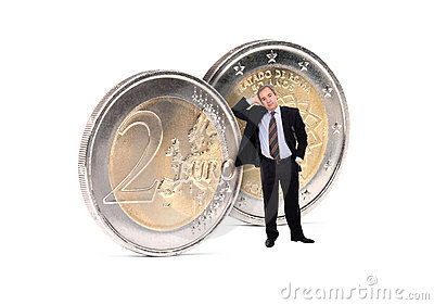 Business Man with euros coins