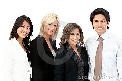 Business man with a  female team