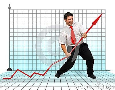 Business man fighting graph arrow