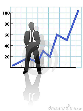 Business Man and Financial Growth Success Chart