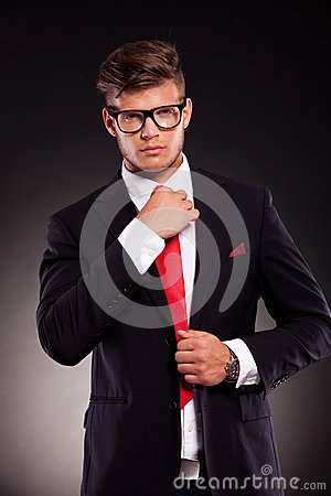 Free Business Man Fixing His Tie Stock Images - 27214394