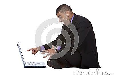Business man found surprising on his laptop