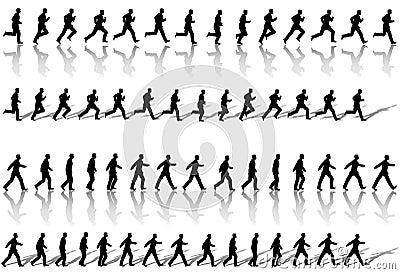 Business Man Frames Running Walk Sequence