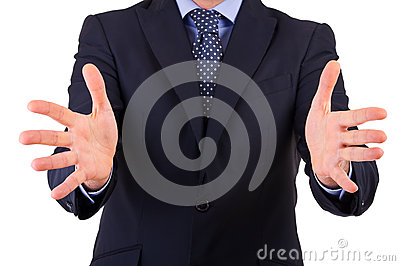 Businessman gesturing with both hands.