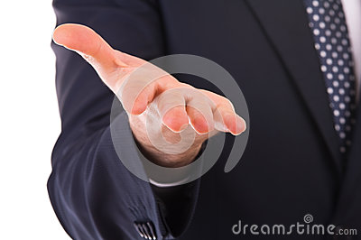 Businessman gesturing with hand.
