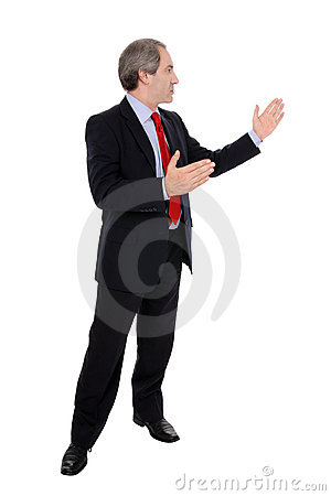 Business man gesturing with his hands