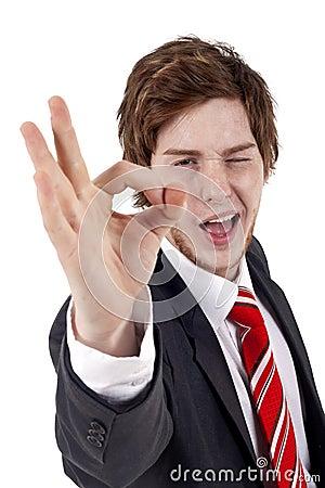 Business man gesturing OK