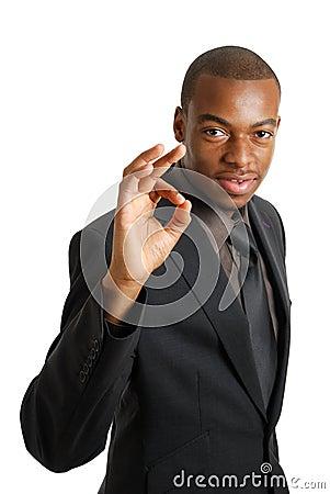 Business man gesturing okay
