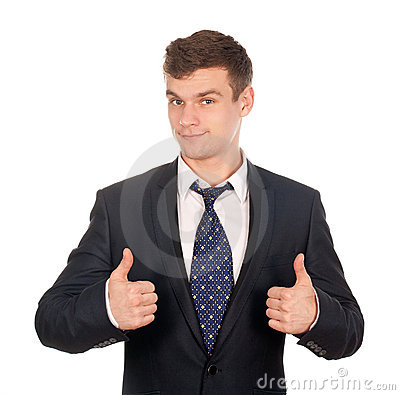 Business man gesturing thumbs up isolated on white