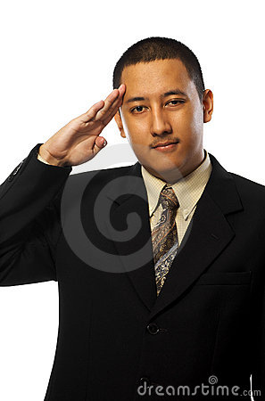 Business man gives salute
