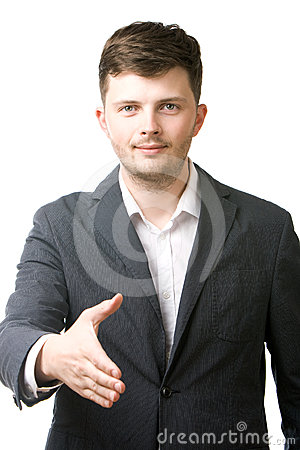 Business man giving his hand for a handshake