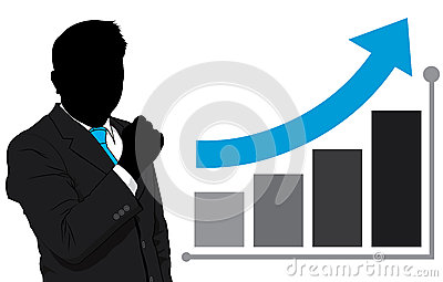 Business man and graph growth