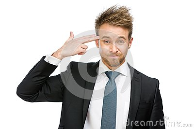 Business man hand gun gesturing