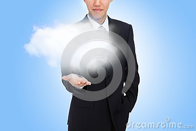 Business man hand holding white cloud