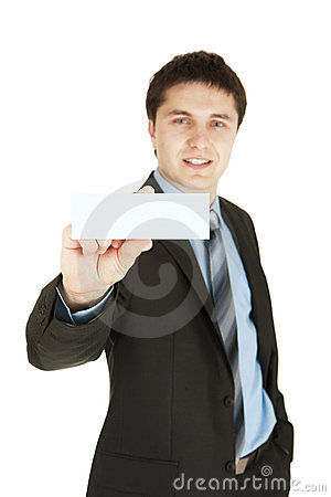 Business man handing a business card