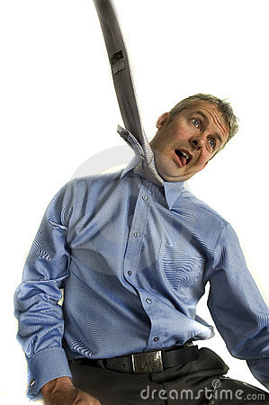 Business man hanging from tie