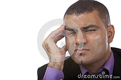 Business man has headache of stress
