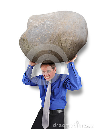 Business Man with Heavy Stress Rock
