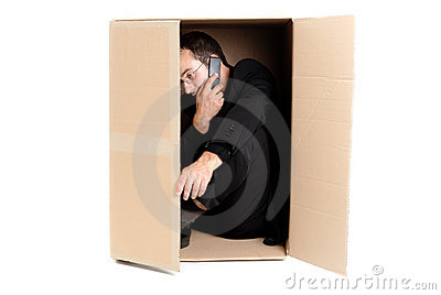 Business man hiding in a carton box