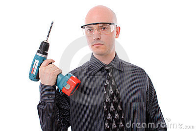 Business man and his drill