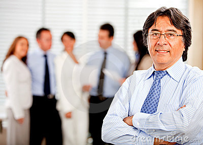 Business man with his team