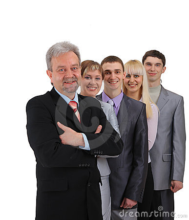 Business man and his team isolated