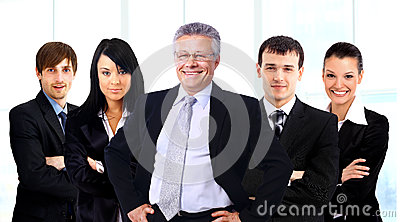 Business man and his team