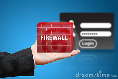 Business man hold firewall to protect login user