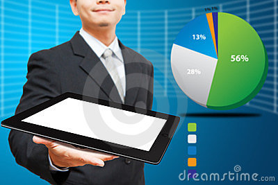 Business man Hold tablet computer and graph report