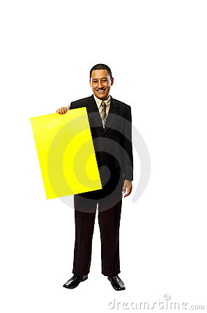 Business Man Hold Yellow Sign