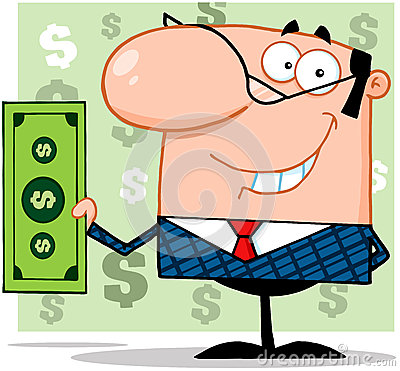 Free Business Man Holding A Dollar Bill Royalty Free Stock Photos - 29749058