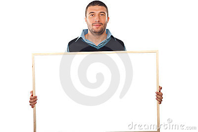 Business man holding blank banner