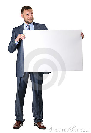 Business man holding a blank banner isolated